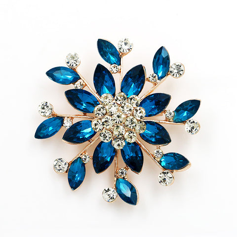 Brooch Large Blue Pendant Pin Rhinestone Crystal BR-965