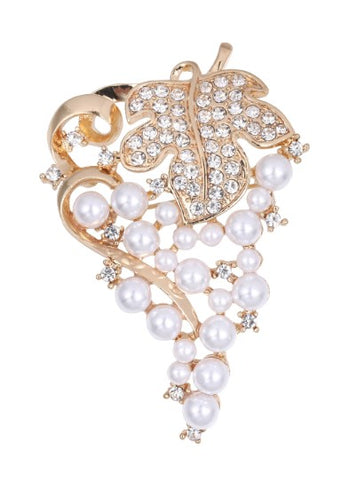 Brooch Clear Rhinestone Pearls Crystal BR-029