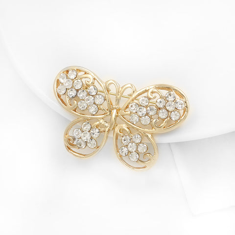 Gold and Rhinestone Butterfly Brooch BR-652
