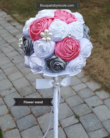 AMY~ Satin Deluxe Roses Flower Girl Wand
