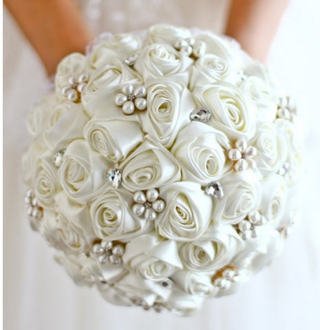 ASHLEY ~ Satin Rose Brooch Bouquet or DIY KIT ~ Ivory