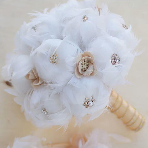White Feathers Brooch Bouquet