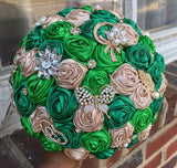 LANDA ~ Deluxe Satin Roses Brooch Bouquet or DIY KIT ~ LANDA