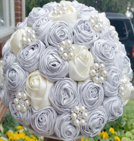 MEGAN~EMR Ivory Silver Satin Rose Brooch Bouquet or DIY KIT