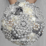 MONE ~ Satin Roses Brooch Bouquet or DIY KIT