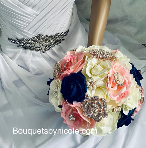 TRINA ~Silk & Real Touch Roses Rose Gold Brooch Bouquet ~ TRINA