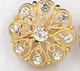 12pcs Gold Rhinestone Brooches Lots BR-220G