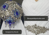Luxury Brooch Bouquet BCUST- BLUE