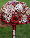 RUBI ~ Satin Rose Brooch Bouquet BCUST