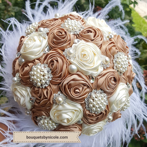 Luxury Feather Brooch Bouquet  BCUST-REESE