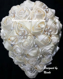 ANNIE ~ Cascade Waterfall Satin Rose Brooch Bouquet BCUST