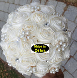 ASHLEY - Ivory Satin Rose Brooch Bouquet