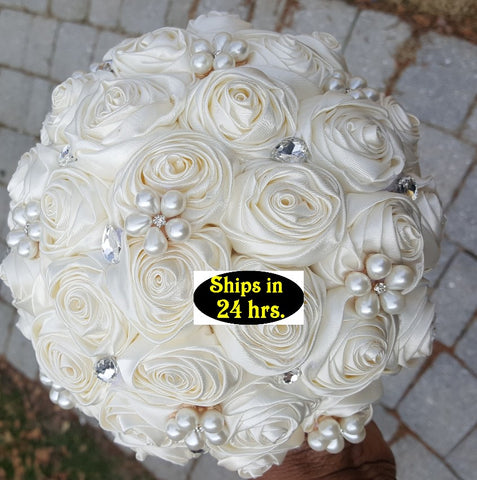 Ivory Satin Rose Brooch Bouquet 24HR- ASHLEY