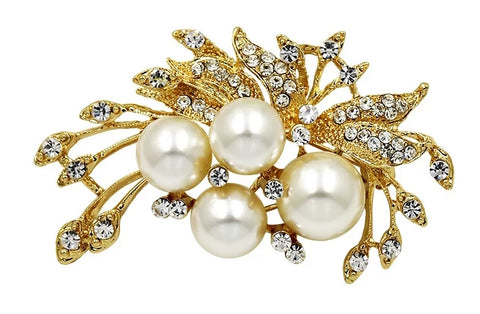 Large Brooch Gold / Silver Flower Rhinestone Crystal BR-099
