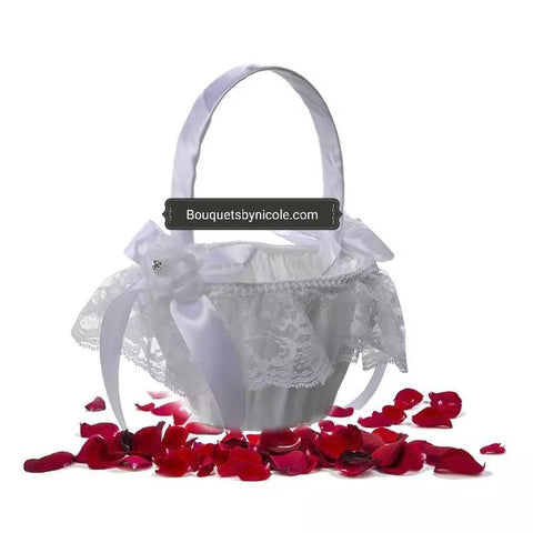 White Wedding Ring Pillow Flower Girl Basket Guest book Pen Set CBP- 012