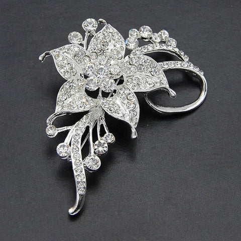 Rose Gold / Silver Brooch Clear Rhinestone Crystal BR-294