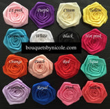 Satin Rose Brooch Bouquet or DIY Kit BCUST- 004