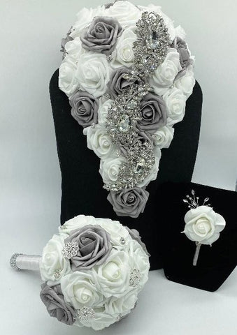 JANAI ~ White & Silver Cascade Real Touch Roses Brooch Bouquet