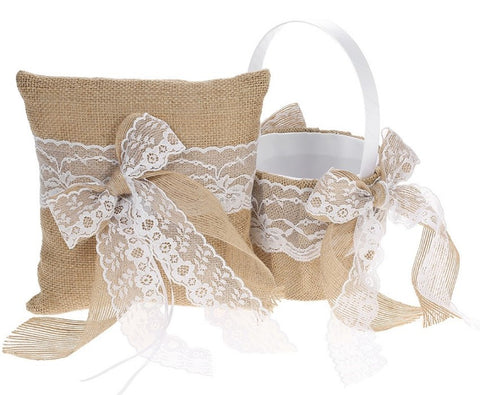 Burlap & Lace Wedding Flower Girl Basket CBP- 005