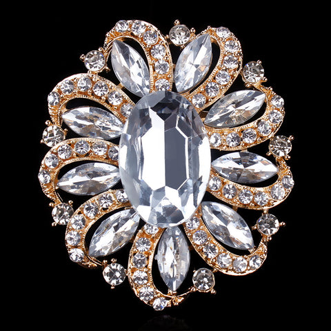 Brooch Large Pin Rhinestone Crystal BR-989
