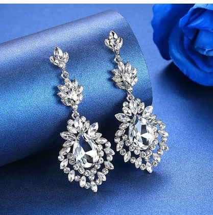 MEC-013 Crystal Pearls Long Drop Earrings Bridal Wedding Jewelry