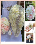 PACK02~ Build Your Cascade Bouquet Package Real Touch Roses Bouquet