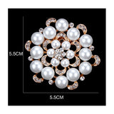 Gold / Silver Brooch Flower Pearls Rhinestone Crystal BR-011a