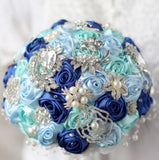 Satin Roses Brooch Bouquet or DIY KIT ~ BCUST-003