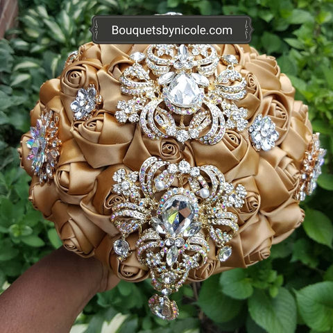 BRANDI~Satin Roses Brooch Bouquet or DIY KIT