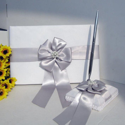 Customized Brooch Wedding Guest Book Pen Set CBP- 003