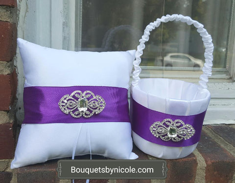 Customized Brooch Wedding Ring Pillow Flower Girl Basket Guest book Pen Set CBP- 010