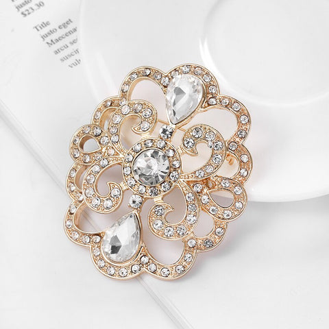 Large Rhinestone Crystal Gold or Silver Brooch BR-90