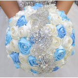 Satin Rose Brooch Bouquet BELLA