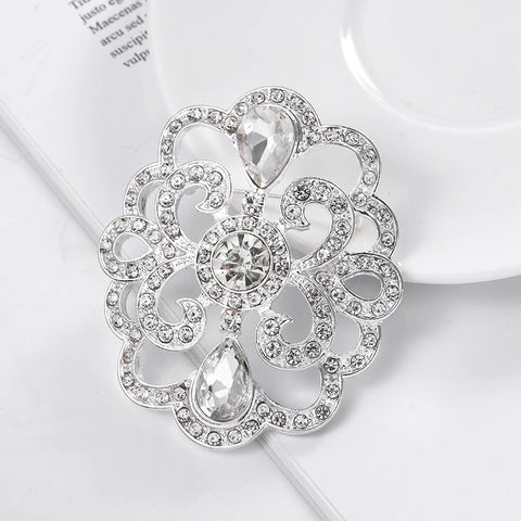 Large Rhinestone Crystal Gold or Silver Brooch BR-91