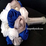 PEACE~EMR Satin Rose Wedding Brooch Bouquet