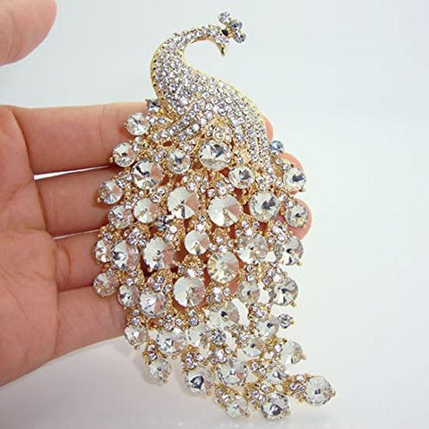 Gold Brooch Peacock Bird Clear Rhinestone Crystal BR-014