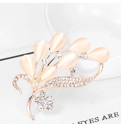 Gold Rhinestone Flower Leaf Brooch BR-21