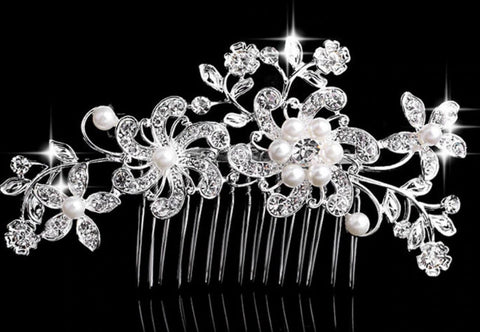 Bridal Hair Brooch Rhinestones & Pearls HBR-015