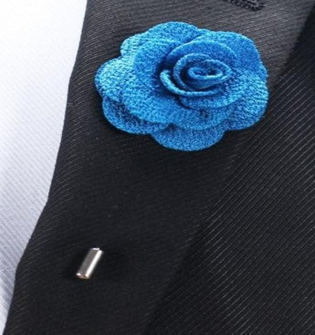 Burlap Fabric Flower Boutonniere, Lapel Pin Formal Wear Wedding Prom BOUT- MAYA