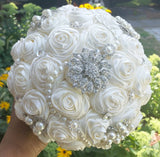 SELLA~EMR Ivory Satin Rose Brooch Bouquet or DIY KIT