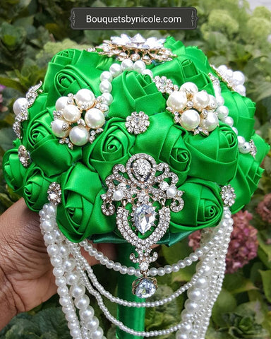 MEL ~ Pearl Cascade Waterfall Satin Rose Brooch Bouquet
