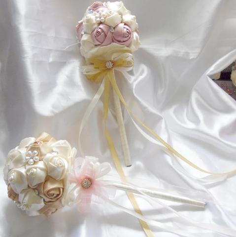 KERI~ Satin Roses Flower Girl Wand
