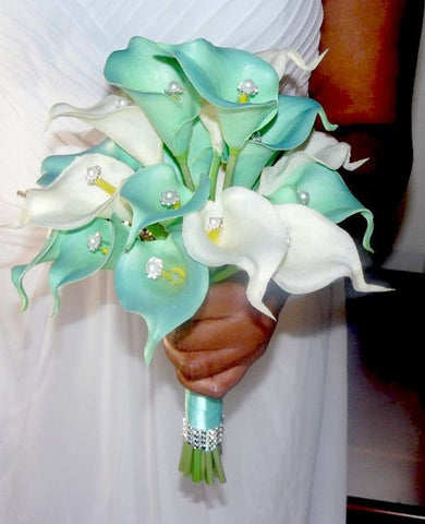 Real Touch Calla Lily Brooch Bouquet BCUST- 431