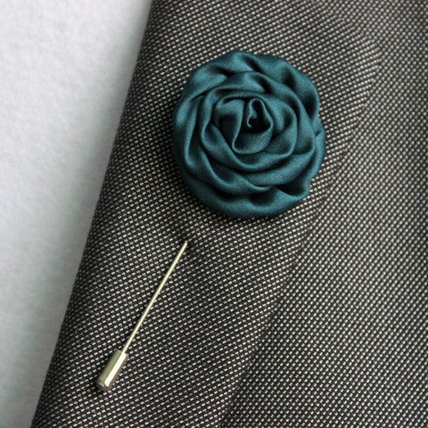 Fabric Flower Boutonniere, Lapel Pin Formal Wear Wedding Prom BOUT-008