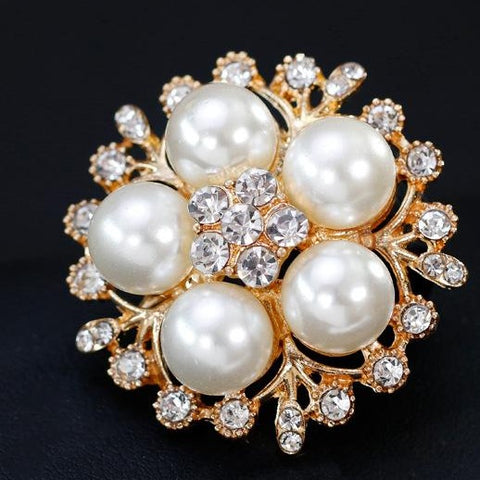 Silver or Gold Rhinestone Flower Brooch  BR-911