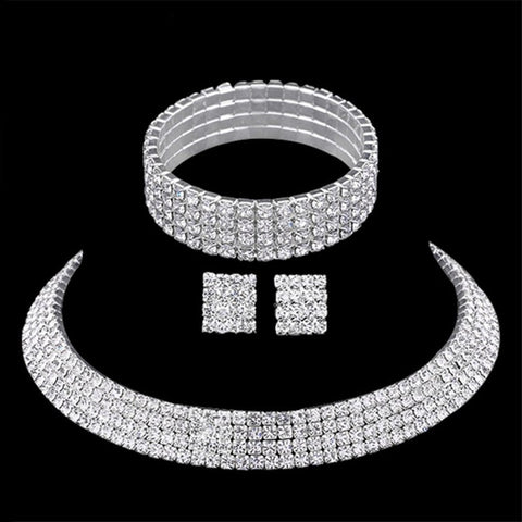 4pcs Bridal Prom Rhinestone Jewelry Set JEW-A799