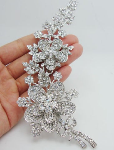 Brooch Rose Long Flower Leaf BR-002