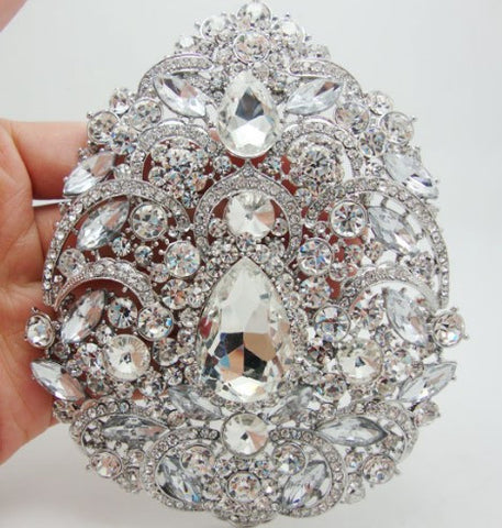 Brooch Extra Large Flower Pendant Pin Blue Rhinestone Crystal BR-010