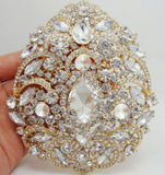 Brooch Extra Large Flower Pendant Pin Silver or Gold Rhinestone Crystal BR-010