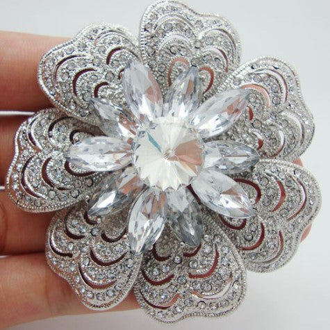 Brooch Large Flower Pendant Pin Rhinestone Crystal BR-038